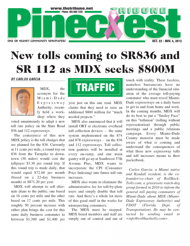 Community Newspaper - Pinecrest Tribune - MDX toll rate increases coming to 836 & 112