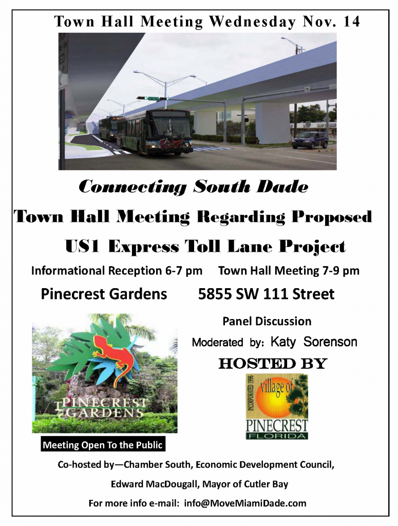 Pinecrest to hold public meeting on Busway Express lane project Nov. 14